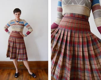 1970s Red and Brown Plaid Pleated Skirt - S
