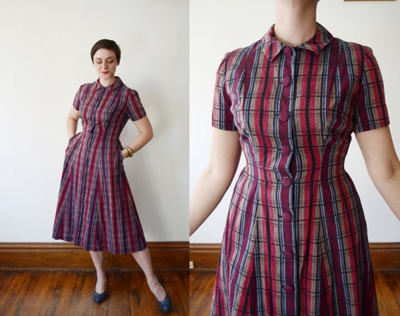 1950s Maroon Plaid Shirtdress - M