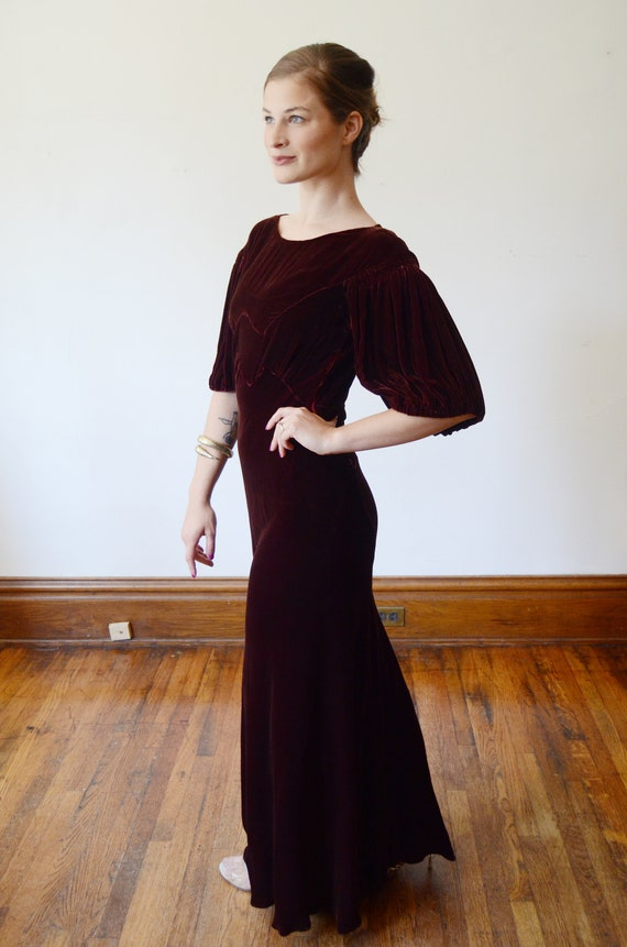 1930s Brown Velvet Puff Sleeve Dress - XS - image 7