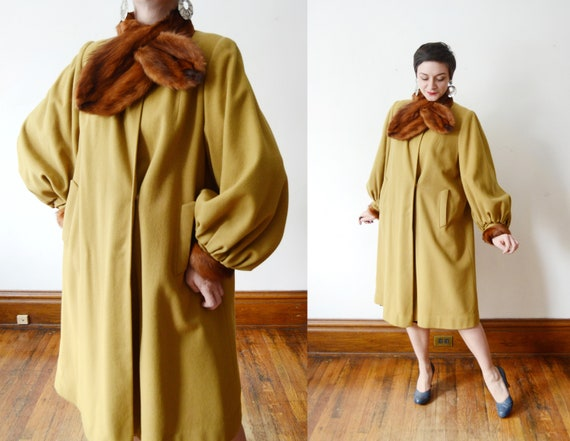 1940s Mustard Wool Swing Coat - M