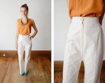 1970s Highwaist White Pants - S