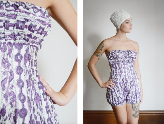 Deala of Miami 1950s Purple Patterned Playsuit - S
