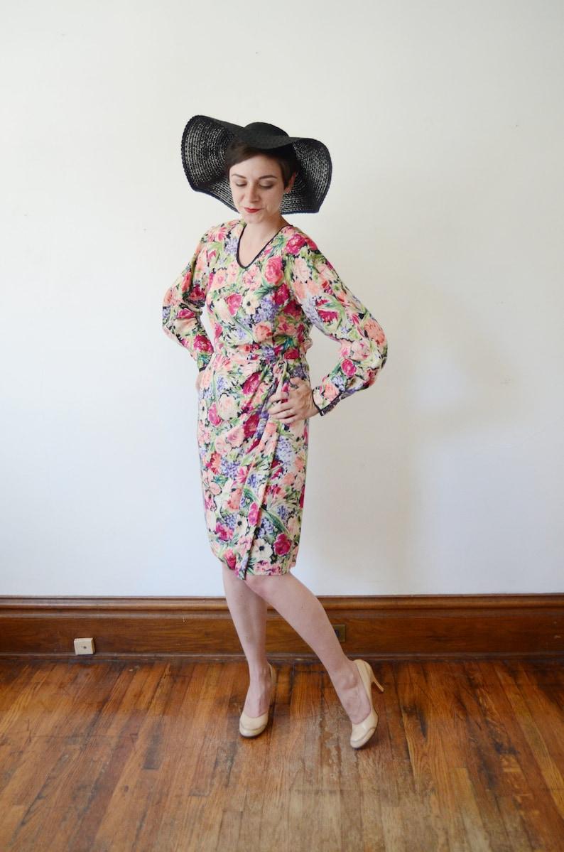 1980s Silk Floral Dress M