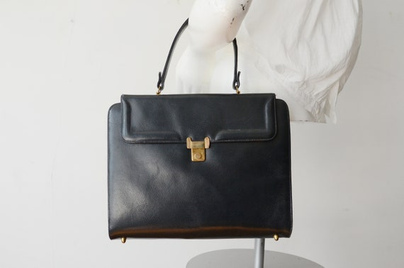 1970s Leather Briefcase Style Purse