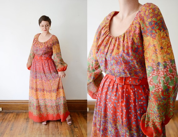 1970s Red Floral Maxi Dress - M