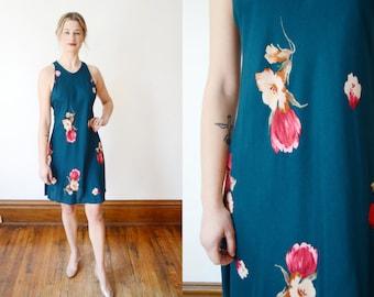 1990s Jade Floral Mini Dress - XS