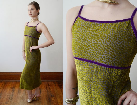 90s Green Burnout Velvet Dress - XS