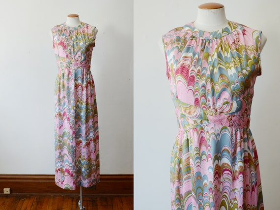 1970s Pink Marbled Maxi Dress - S/M