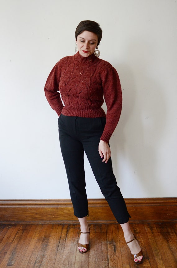 1980s Maroon Puff Sleeve Sweater - S