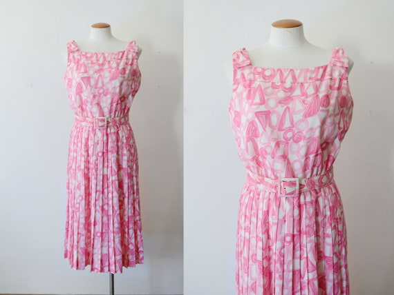1960s Pink Patterned Dress - M