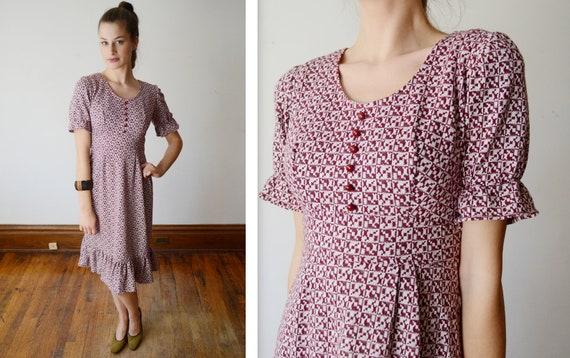 1970s Knit Ruffle Dress - XS