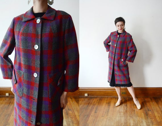 1950s Red and Purple Coat - M