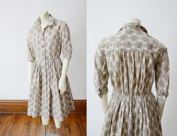 1950s Button up Cotton Dress - S