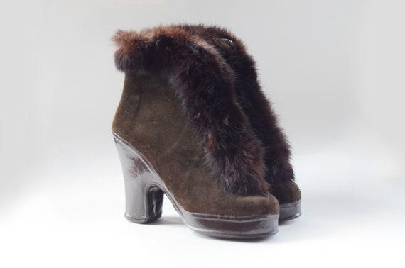 1940s Brown Gaytees Rabbit Fur Galoshes - 6