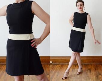 1960s Mod Black and White Dropwaist Dress - XS/S
