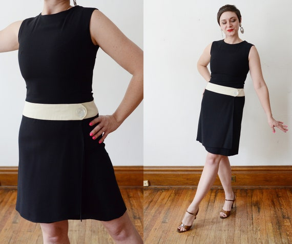 1960s Mod Black and White Dropwaist Dress - XS/S