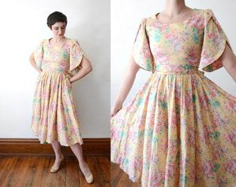 1980s Floral Cotton Dress - XS