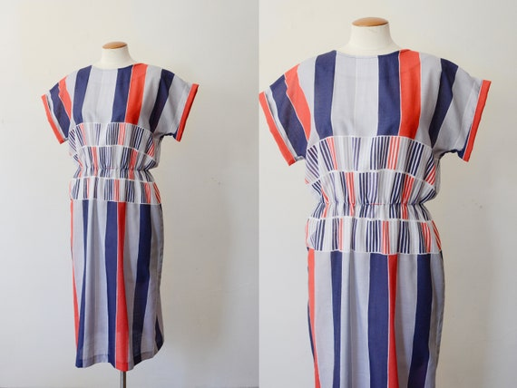 1980s Striped Dress - M