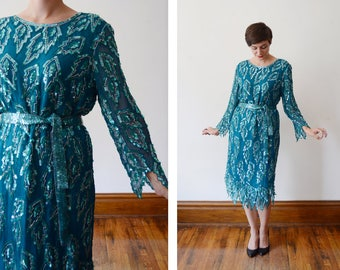 1980s Turquoise Sequined Silk Dress - M/L