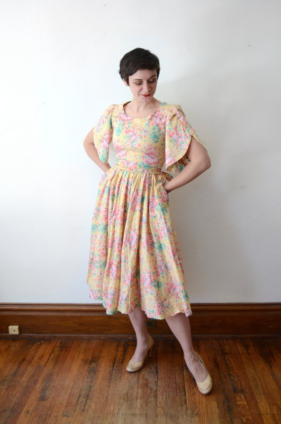 1980s Floral Cotton Dress - XS - image 7