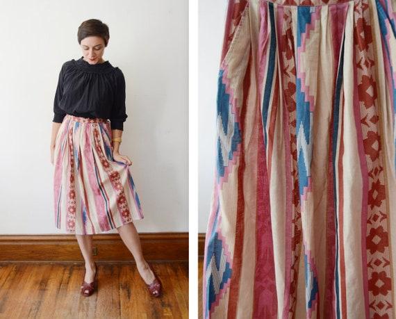 1970s Aline Southwestern Skirt - XS/S
