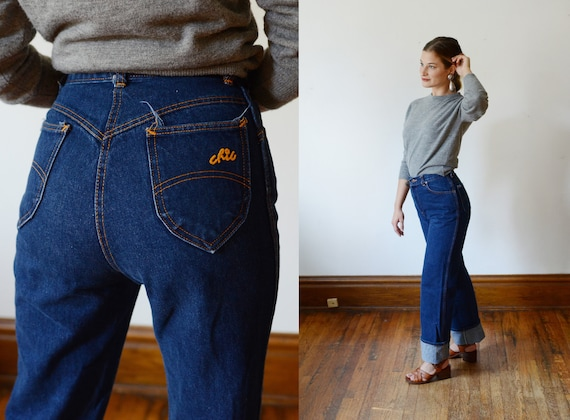 Early 1980s Chic Blue Jeans -  Long XS/S