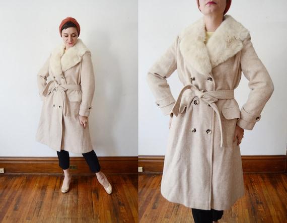 1970s Tweed Beige Coat with Fur Collar - M