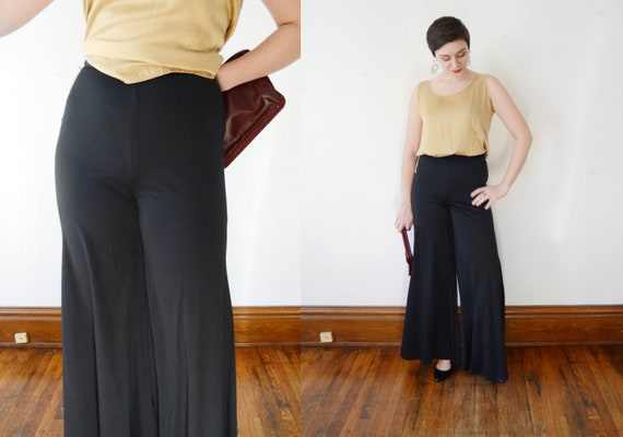 Deadstock 1970s Black Nylon Flare Pants - M