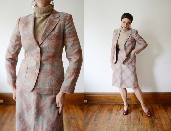 1970s Pink and Grey Suit - S