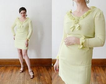 1960s Pale Green Ruffle Dress - XS
