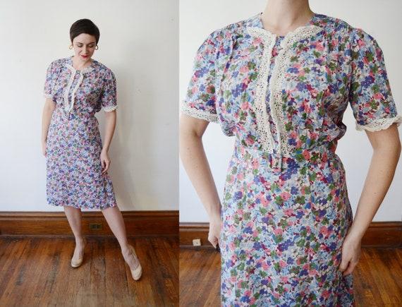 1930s Sheer Floral Dress - L