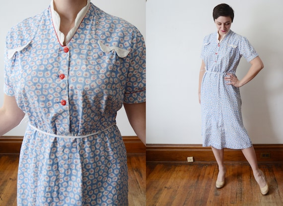 1930s Blue Cotton Dress - L