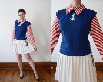 Deadstock Early 70s Sailor Mini Dress - S