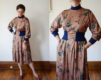 1980s Brown Floral Jersey Dress - M