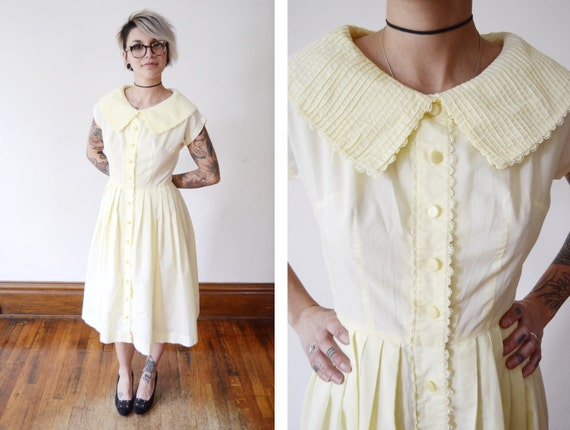 1950s Pale Yellow Shirt Dress - S