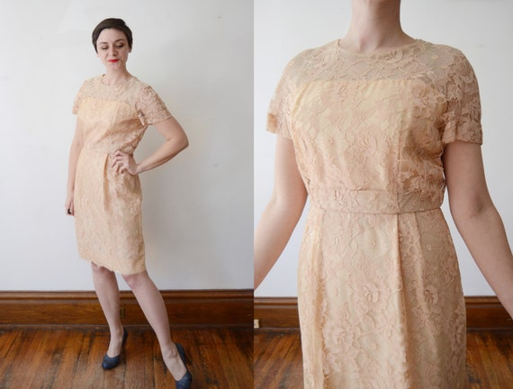 Spiderweb Lace 1960s Peach Dress - M