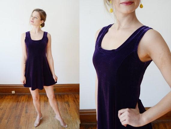 1990s Purple Stretch Velvet Dress - S