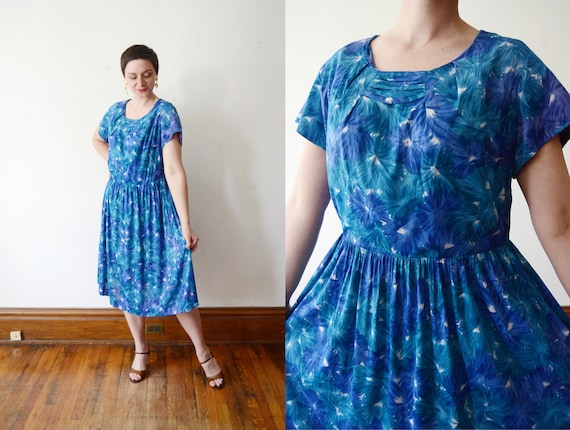 1950s Nylon Jersey Floral Dress - XL