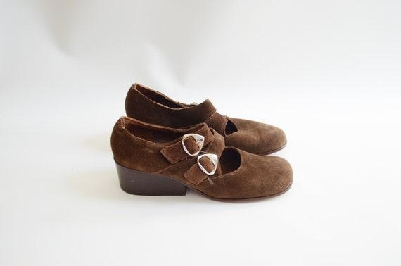 1960s Brown Mod Heels - US8.5AA