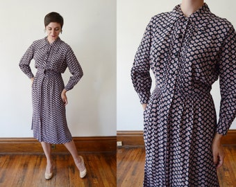 1940s Navy and Pink Floral Dress - L
