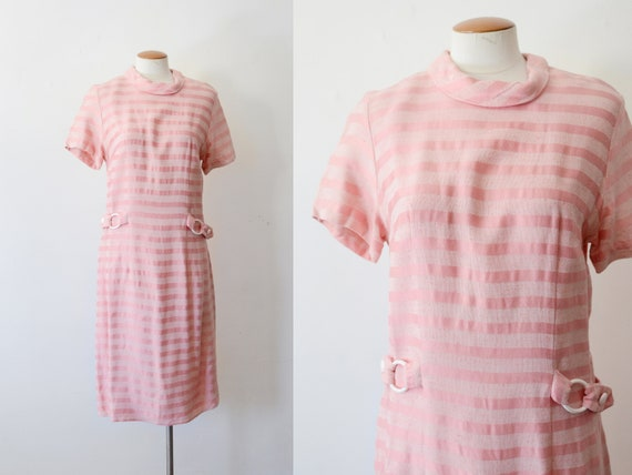 1960s Pink Striped Shift Dress - S/M