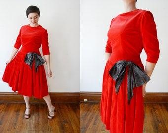 1950s Red Velveteen Dress - M