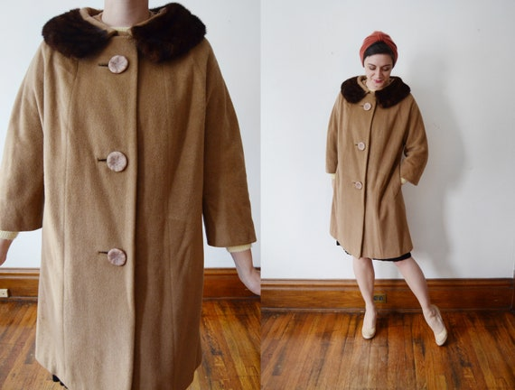 1950s Jacobsons Brown Wool Coat with Mink Collar - M