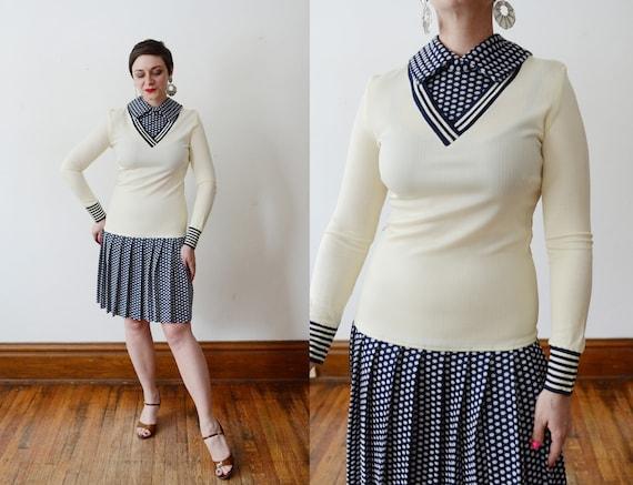 1960s Polka Dot Drop-Waist Dress - S