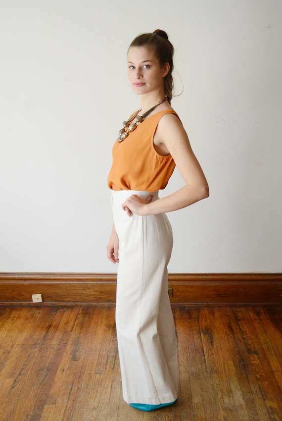 1970s Highwaist White Pants - S - image 7