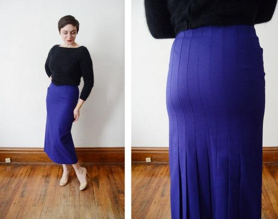 1980s Purple Pleated Wool Pencil Skirt - S
