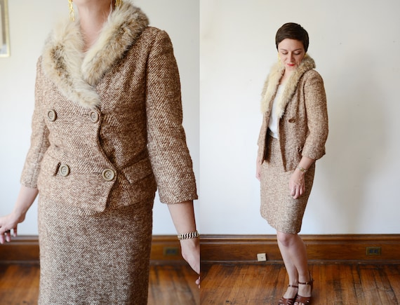 Adolphe Zelinka 1960s Tweed Skirt Suit with Fur Collar - S