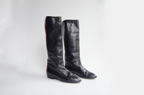 80s Black Leather Anne Klein Boots - 8