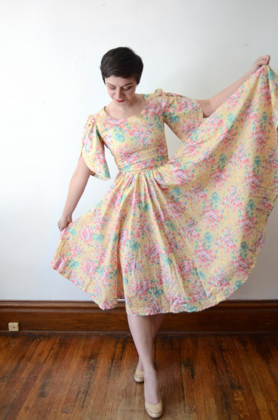 1980s Floral Cotton Dress - XS - image 8