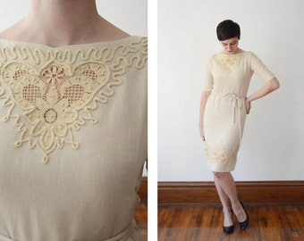 Embroidered 1950s Tan Linen Dress - S